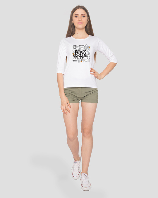 Shop Bong Connection Doodle Round Neck 3/4 Sleeve T-Shirts White-Full