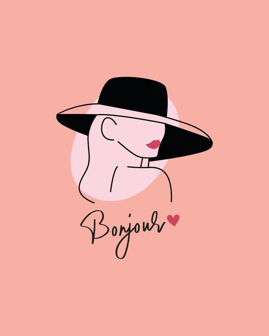 Shop Bonjour Heart Half Sleeve Printed T-Shirt Misty Pink-Full