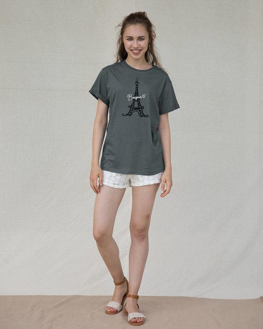Shop Bonjour Paris Boyfriend T-Shirt-Full