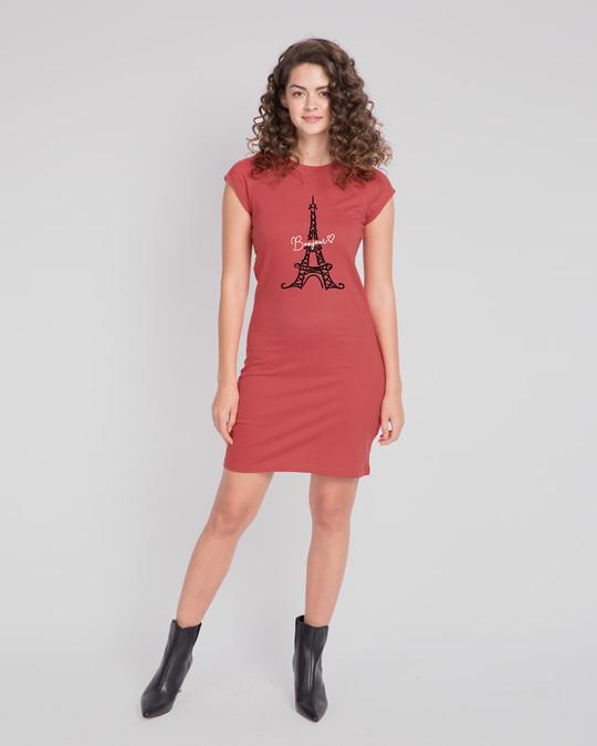 Shop Bonjour Paris Cap Sleeve T-Shirt Dress-Design