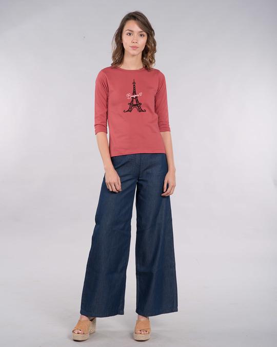 Shop Bonjour Paris Round Neck 3/4th Sleeve T-Shirt-Full