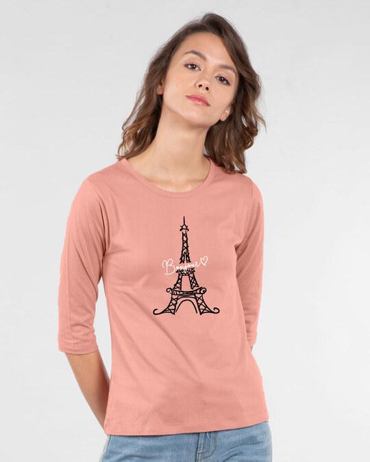 Shop Bonjour Paris Round Neck 3/4th Sleeve T-Shirt-Back