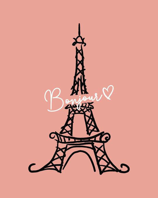 Shop Bonjour Paris Round Neck 3/4th Sleeve T-Shirt