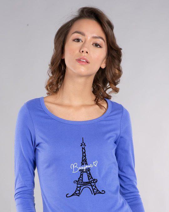 Shop Bonjour Paris Scoop Neck Full Sleeve T-Shirt-Front