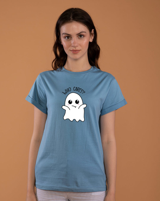 Shop Boo Cares Boyfriend T-Shirt-Front