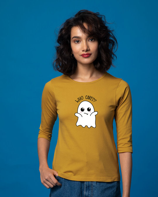 Shop Boo Cares Round Neck 3/4th Sleeve T-Shirt-Front