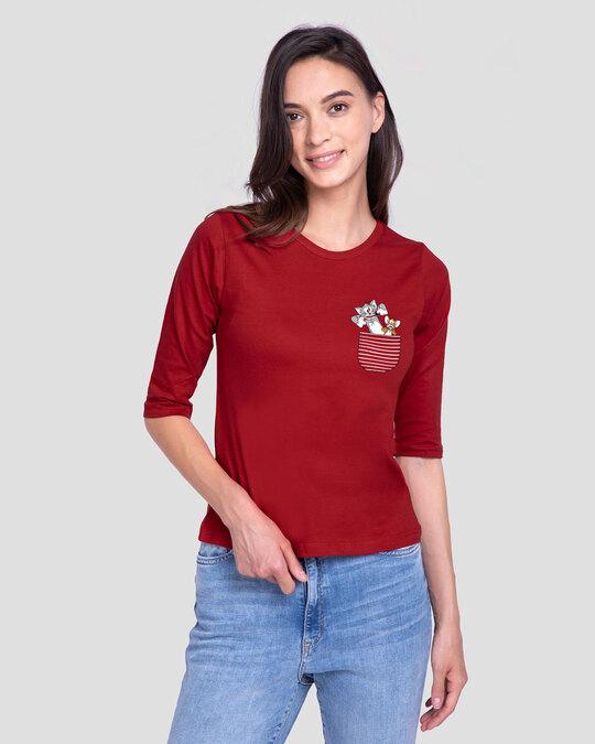 Shop Boo Pocket Stripe Round Neck 3/4 Sleeve T-Shirts-Front