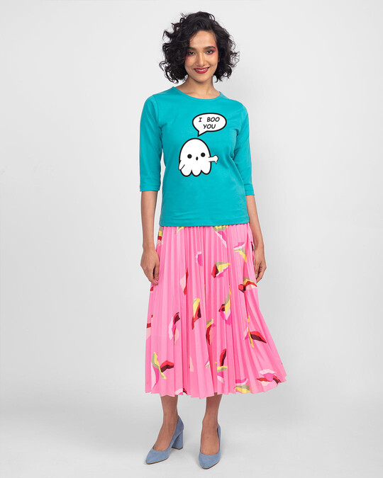 Shop Boo You Round Neck 3/4 Sleeve T-Shirts Tropical Blue-Design