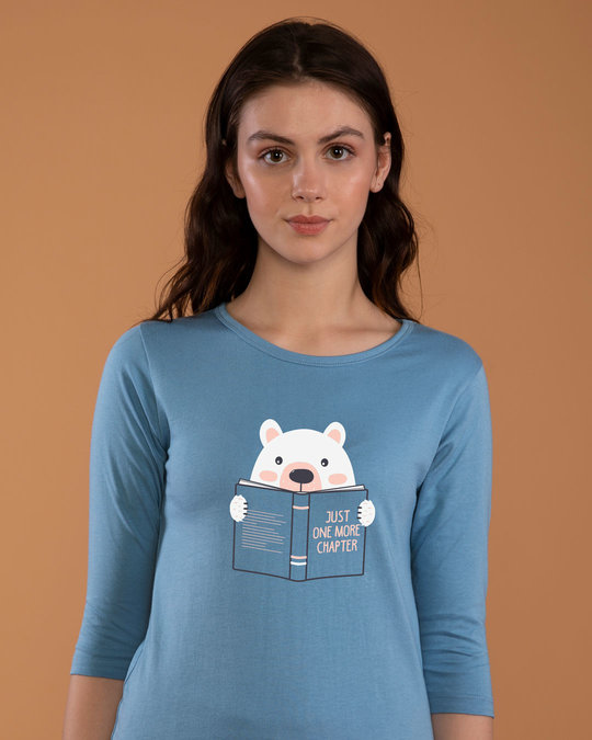 Shop Book Bear Round Neck 3/4th Sleeve T-Shirt-Front