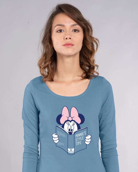 Shop Book Minnie Scoop Neck Full Sleeve T-Shirt (DL)-Front