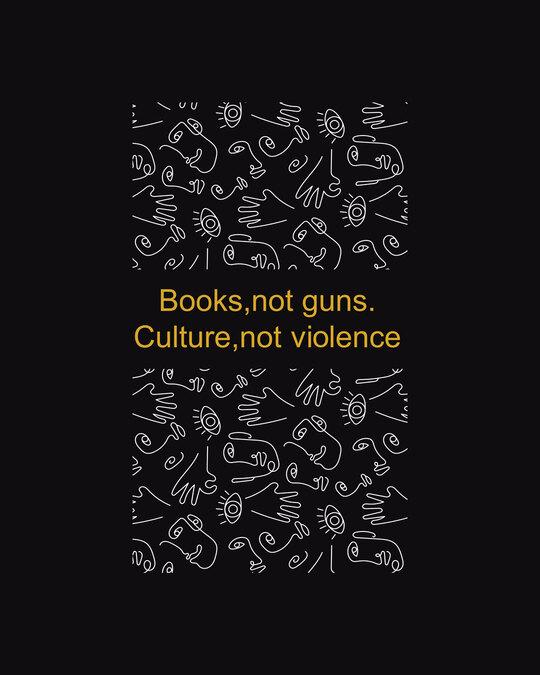 Shop Books Not Guns Half Sleeve Printed T-Shirt Black