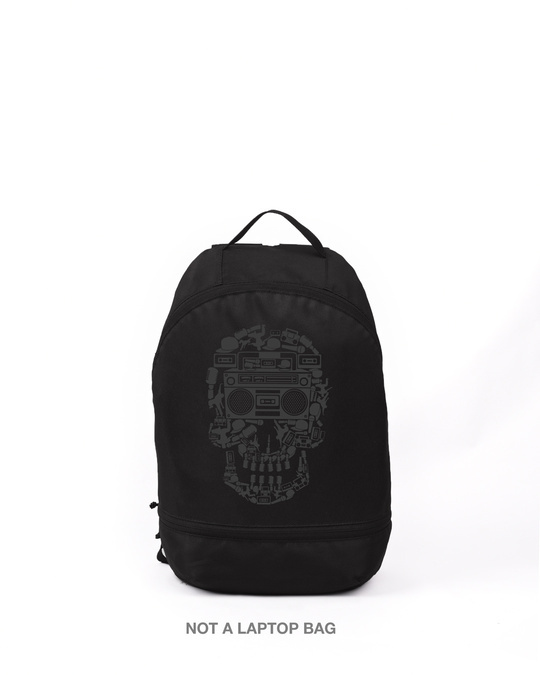 Shop Boombox Skull Printed Small Backpack-Front