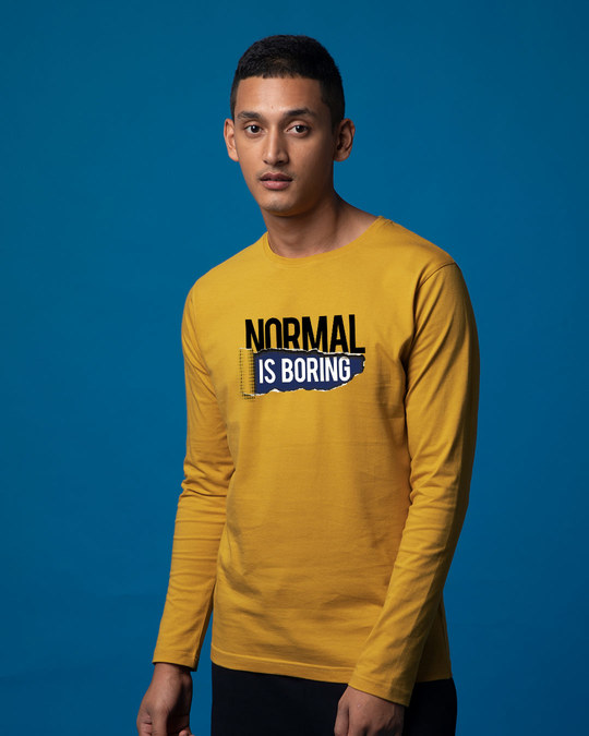 Shop Boring Normal Full Sleeve T-Shirt-Back