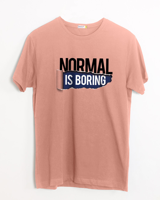 Shop Boring Normal Half Sleeve T-Shirt-Front