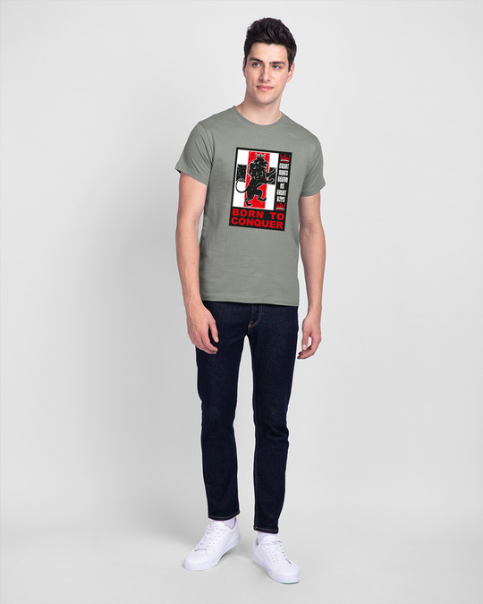 Shop Born To Conquer Half Sleeve T-Shirt Meteor Grey-Full
