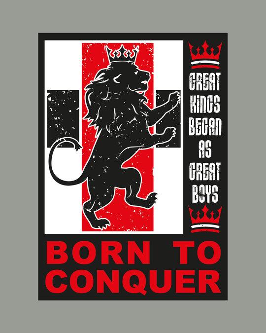Shop Born To Conquer Half Sleeve T-Shirt Meteor Grey