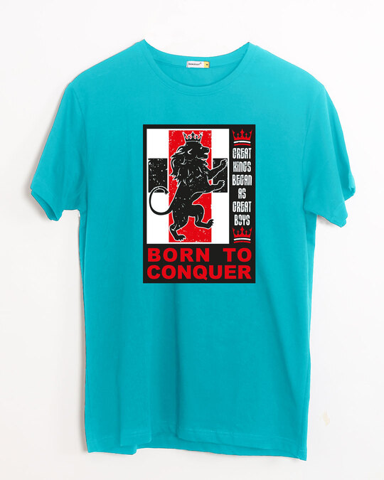 Shop Born To Conquer Half Sleeve T-Shirt Tropical Blue-Front