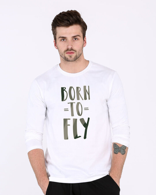 Shop Born To Fly Full Sleeve T-Shirt-Front