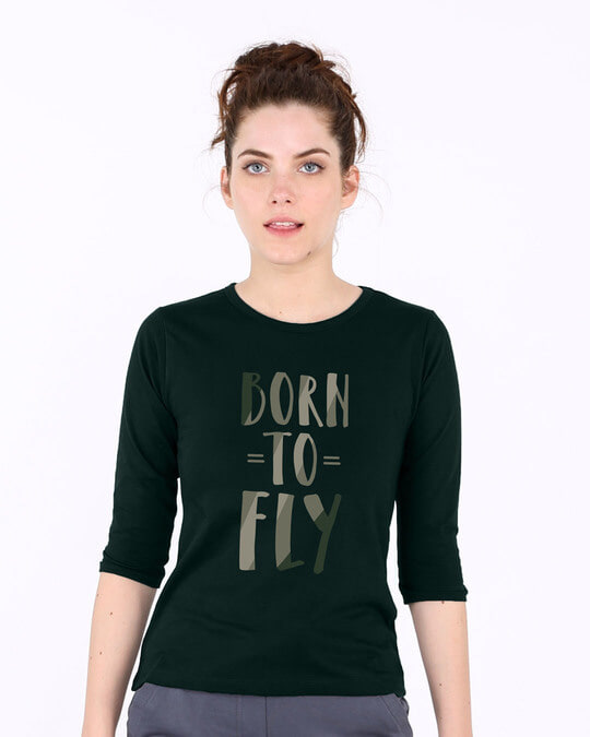 Shop Born To Fly Round Neck 3/4th Sleeve T-Shirt-Front