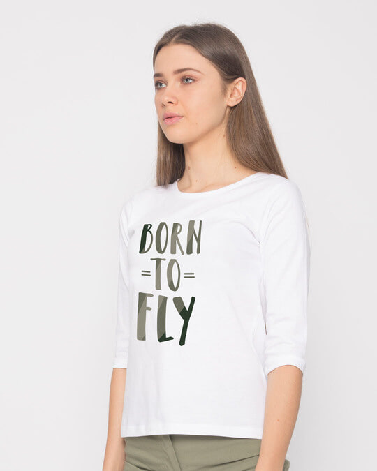 Shop Born To Fly Round Neck 3/4th Sleeve T-Shirt-Back