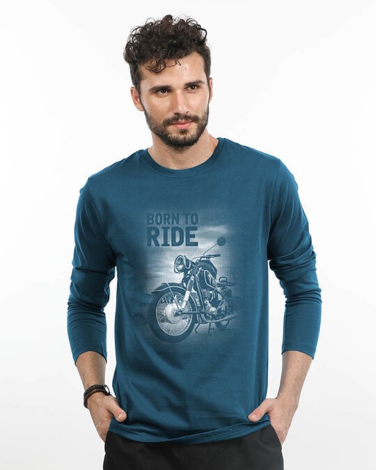 Shop Born To Ride Full Sleeve T-Shirt-Front