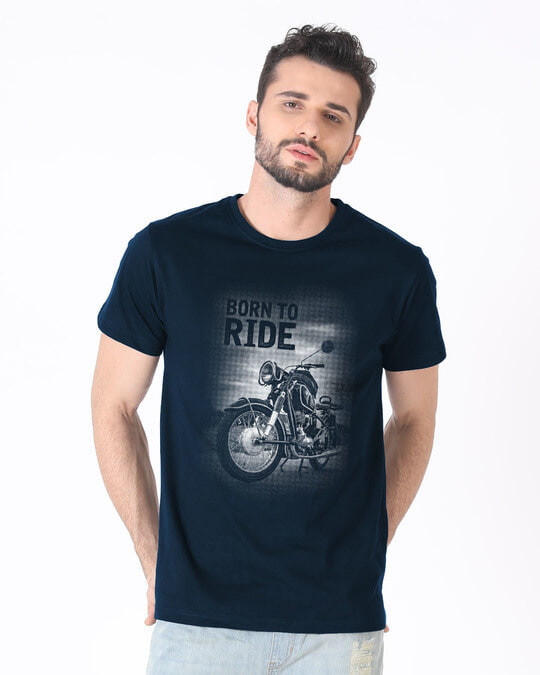 Shop Born To Ride Half Sleeve T-Shirt-Back