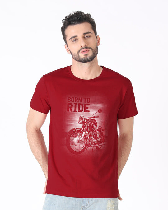 Shop Born To Ride Half Sleeve T-Shirt-Back