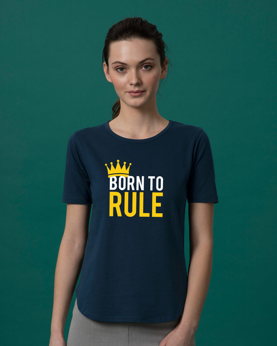 Shop Born To Rule Basic Round Hem T-Shirt-Front