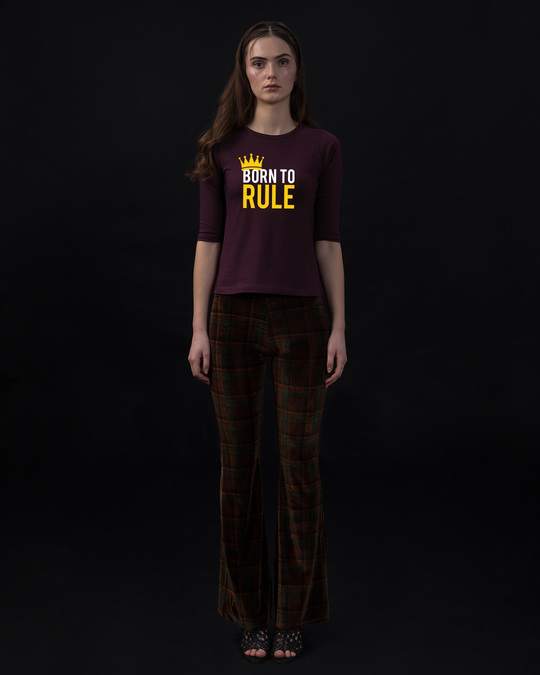 Shop Born To Rule Round Neck 3/4th Sleeve T-Shirt-Full