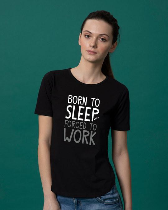 Shop Born To Sleep Basic Round Hem T-Shirt-Front