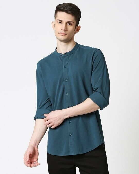 Shop Comfort Pique Knit Bottle Green Shirt-Back