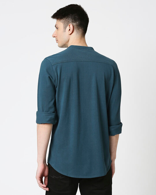 Shop Comfort Pique Knit Bottle Green Shirt-Full