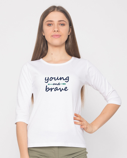 Shop Brave And Young Round Neck 3/4th Sleeve T-Shirt-Front