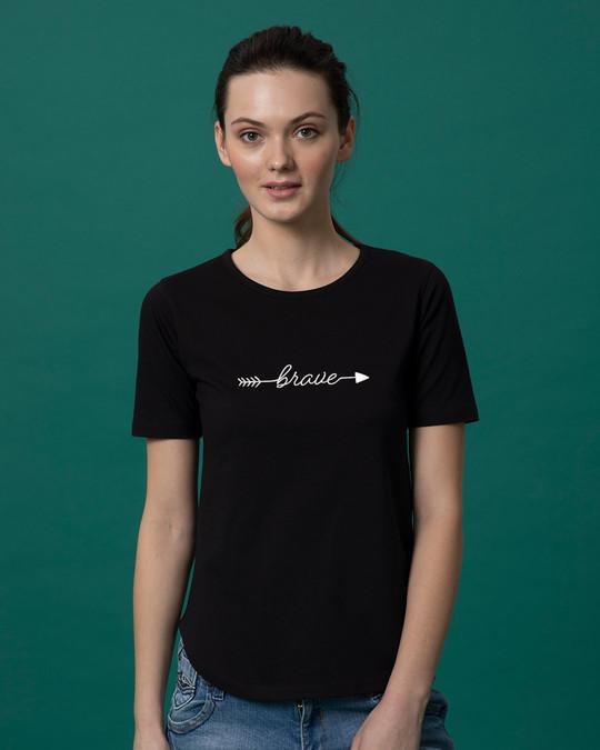 Shop Brave Arrow Basic Round Hem T-Shirt-Front