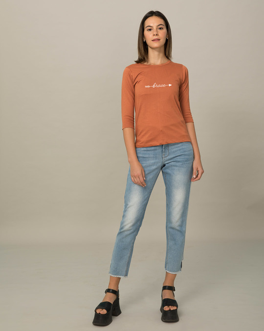 Shop Brave Arrow Round Neck 3/4th Sleeve T-Shirt-Full