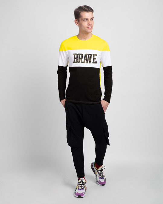 Shop Brave Camouflage Color Block T-Shirt-Full