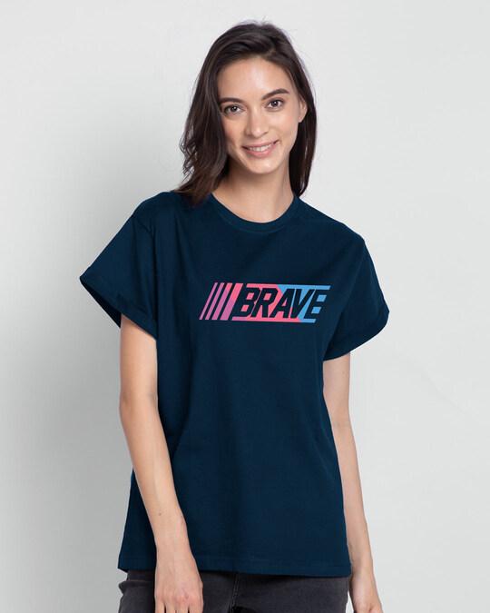 Shop Brave Color Block Boyfriend T-Shirt-Front