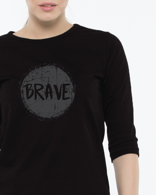 Shop Brave Round Neck 3/4th Sleeve T-Shirt-Front