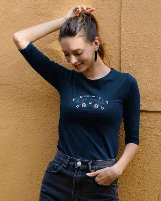 Shop Brave Spirit Round Neck 3/4th Sleeve T-Shirt Navy Blue-Front