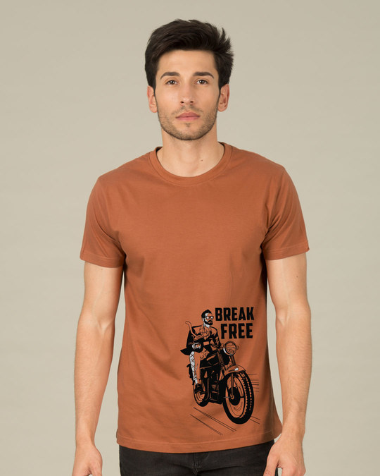 Shop Break Free Motorcycle Half Sleeve T-Shirt-Back