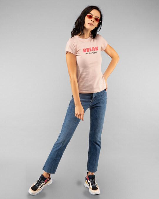 Shop Break Stereotypes Half Sleeve Printed T-Shirt Baby Pink-Full