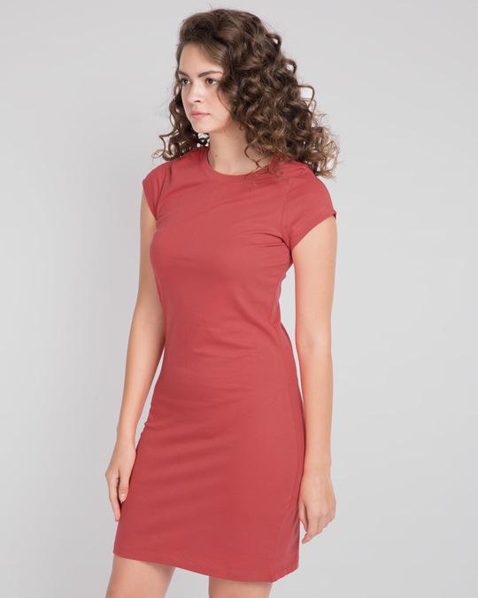 Shop Brick Red Cap Sleeve Plain T-Shirt Dress-Back