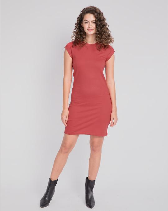 Shop Brick Red Cap Sleeve Plain T-Shirt Dress-Full