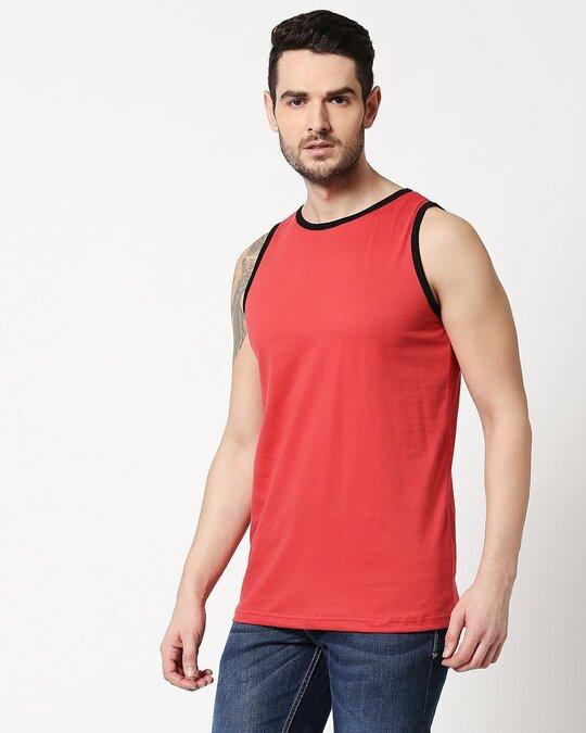 Shop Brick Red Contrast Binding Round Neck Vest-Design