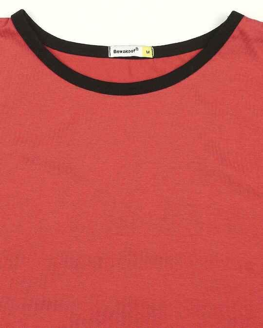 Shop Brick Red Contrast Binding Round Neck Vest