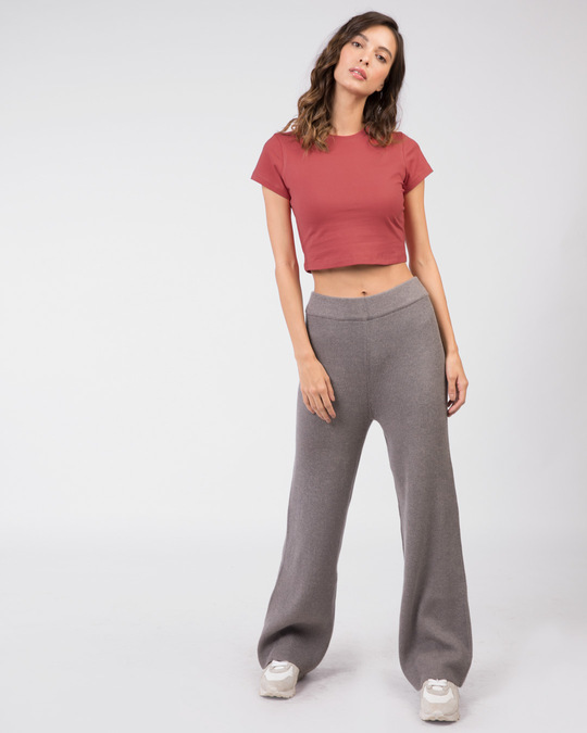 Shop Brick Red Crop Top T-Shirt-Full