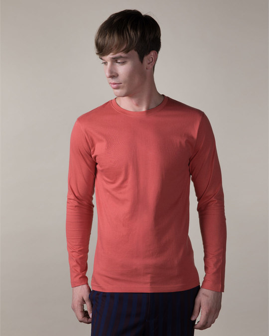 Shop Brick Red Full Sleeve T-Shirt-Back