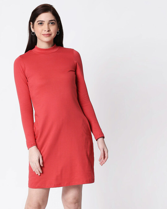 Shop Brick Red High Neck Pocket Dress-Front