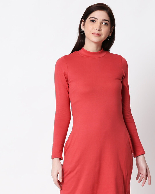 Shop Brick Red High Neck Pocket Dress-Back