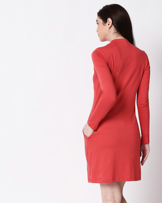 Shop Brick Red High Neck Pocket Dress-Full